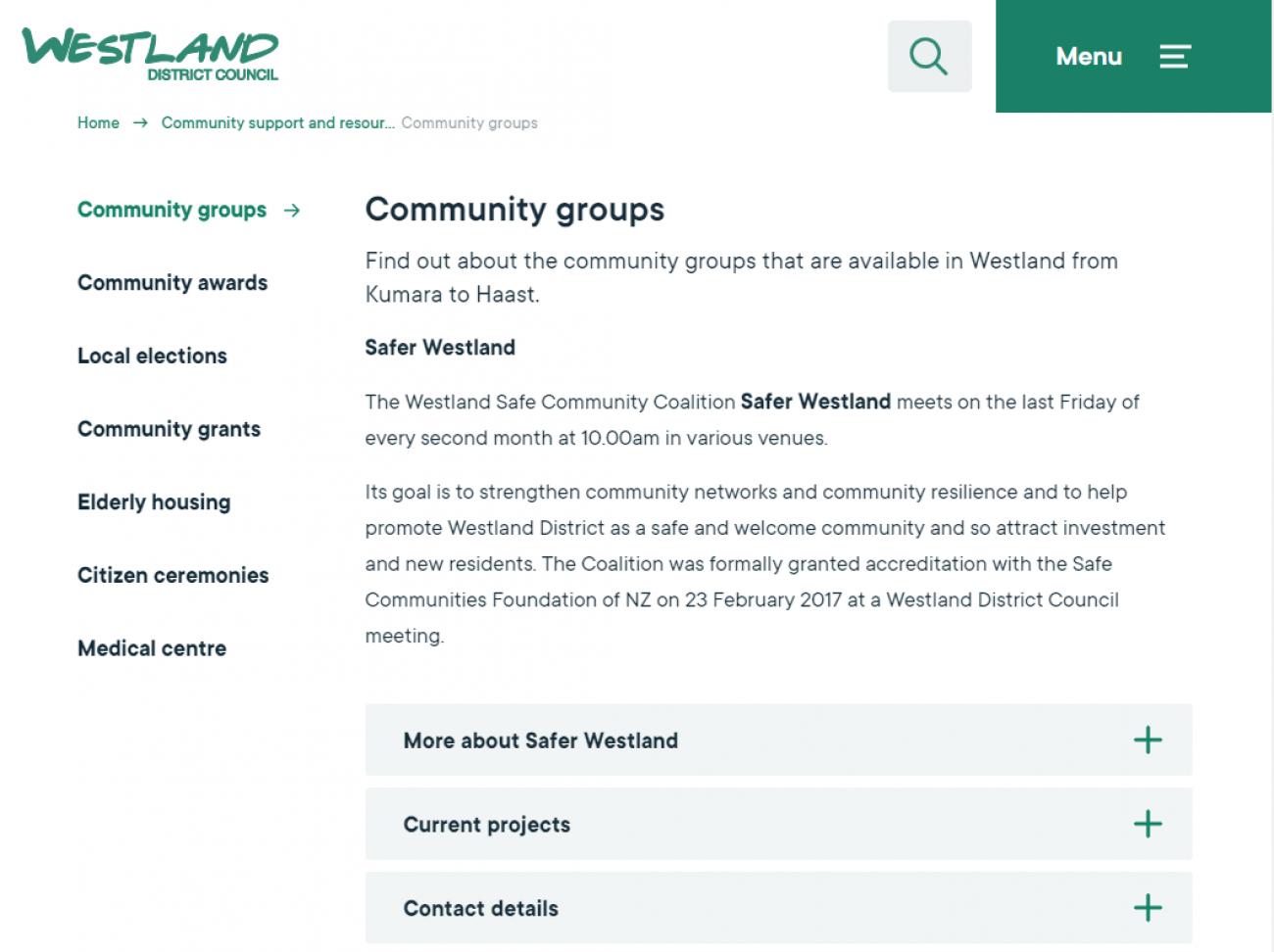 Westland District Council Website